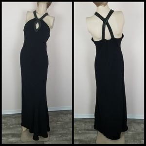 Ralph Lauren beaded halter top black gown